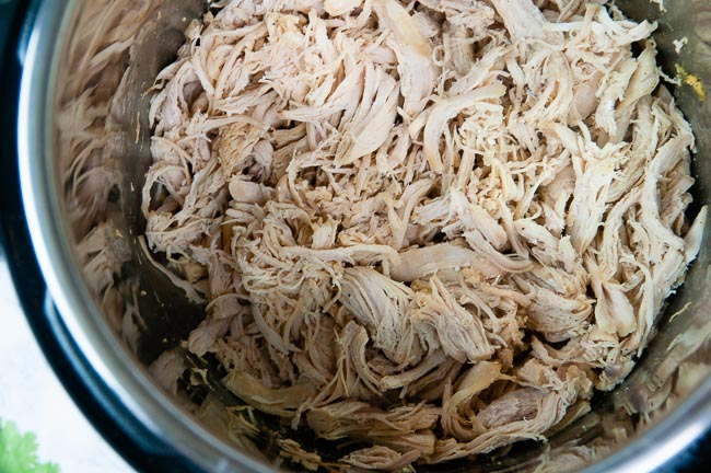 Shred the chicken for Instant Pot Chicken Salad