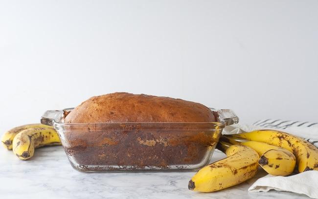 Cinnamon swirl banana bread fresh from the oven