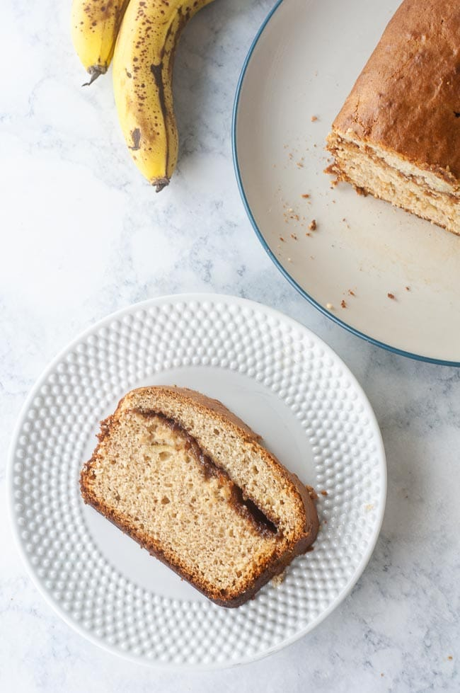 A lovely slice of cinnamon swirl banana bread for a perfect sweet breakfast