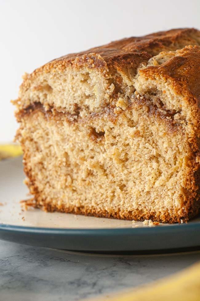 Cinnamon swirl banana bread is a yummy breakfast quick bread