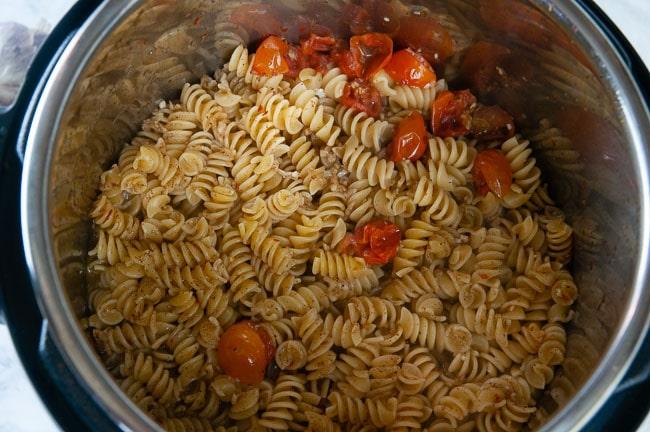 Instant Pot Caprese Pasta after pressure cooking