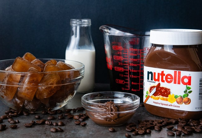 Ingredients for Nutella Frappucinos: Coffee Ice Cubes, Half and Half, Cold Coffee, Nutella