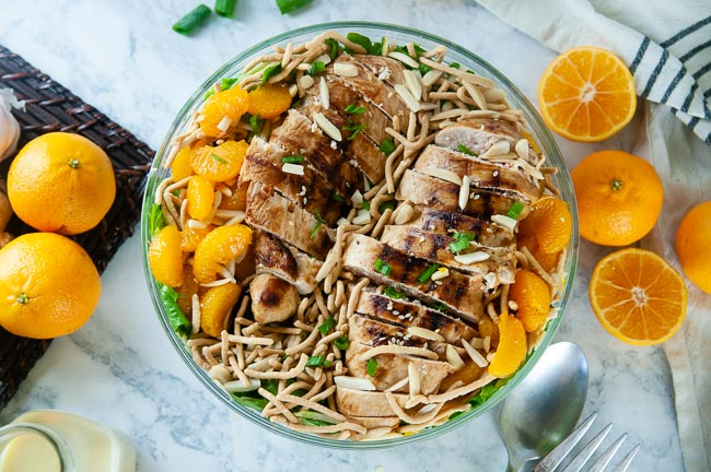 Mandarin chicken salad is loaded with texture and flavor for a satisfying dinner.