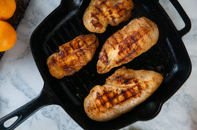Cook the chicken in a grill pan or skillet over medium to medium high heat.