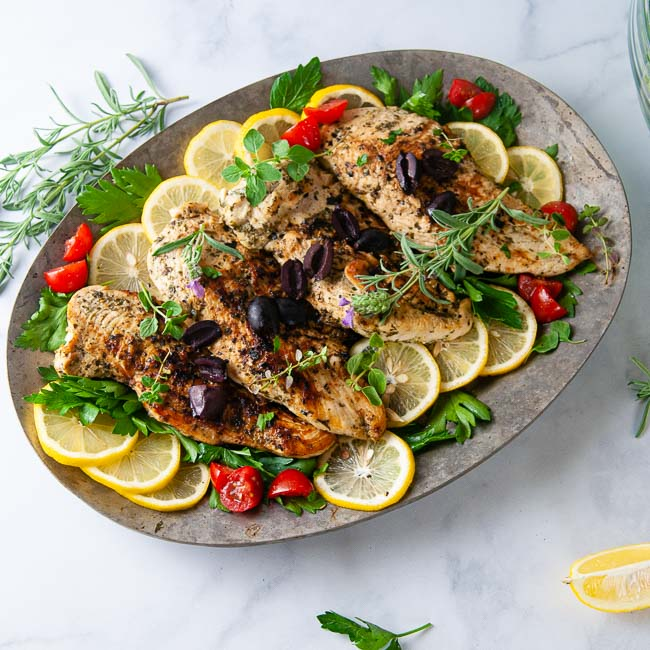 An easy Greek chicken recipe pairs well with a big salad or roasted vegetables and rice.