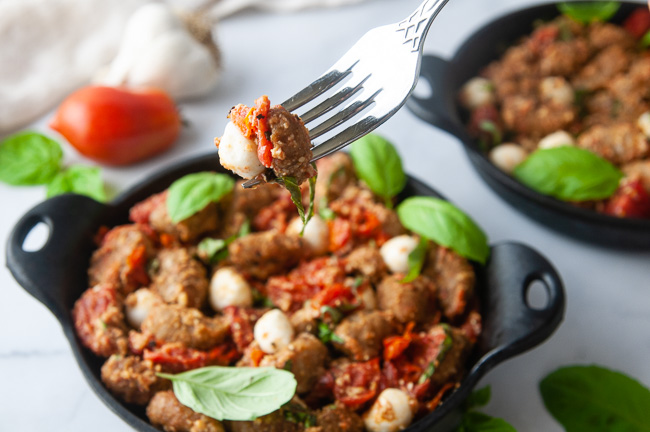 Air fryer gnocchi is delicious with tomatoes, basil and mozzarella
