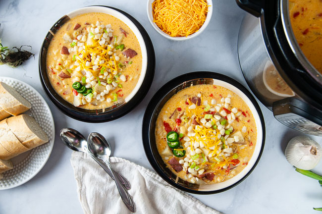 Instant Pot corn chowder is a vegetarian soup recipe to usher in comfort food season.