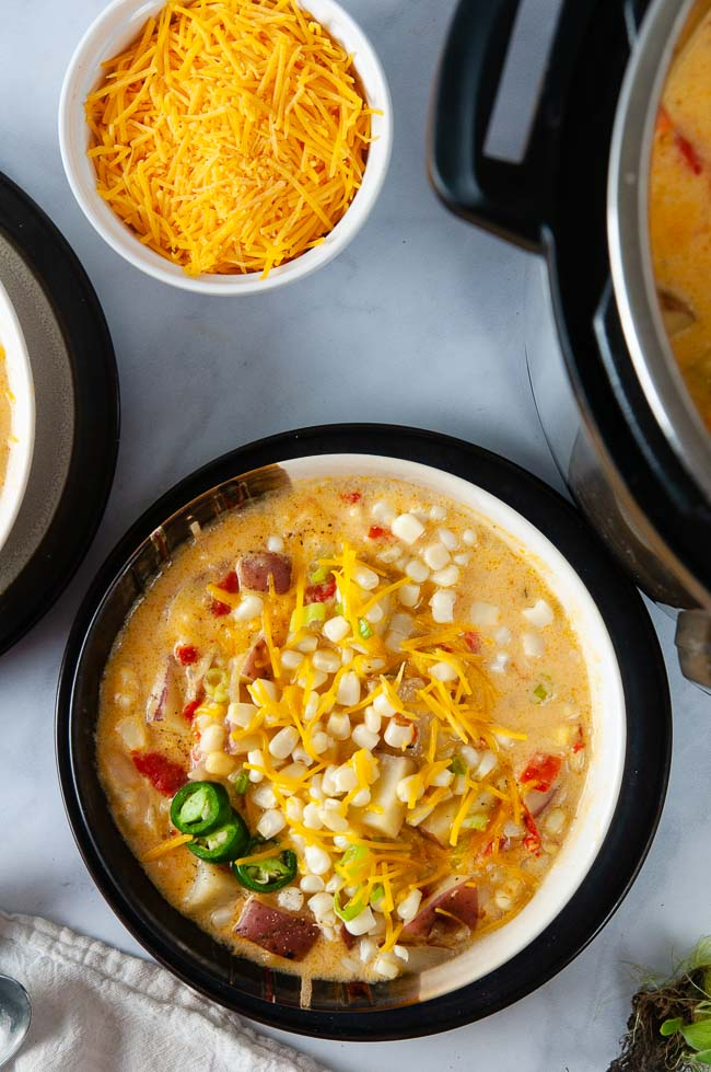 Vegetarian Instant Pot corn chowder is a delicious, cozy soup.