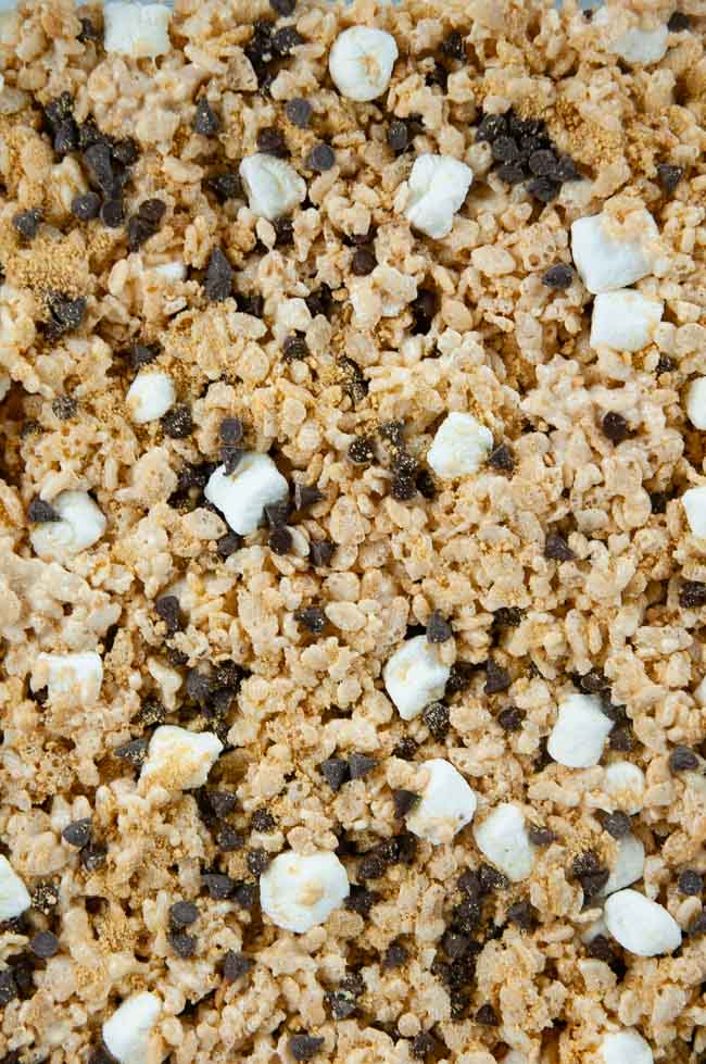 Press the s'mores Rice Krispie treat mixture into a sprayed baking dish