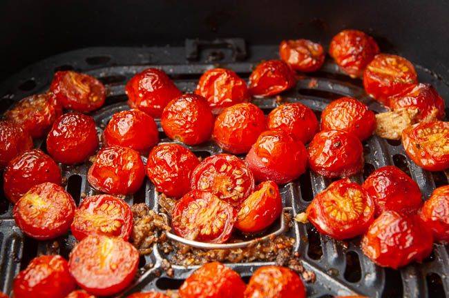 How the tomatoes will look after a spin through the air fryer