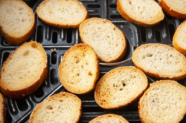 Toast the bread in the air fryer.