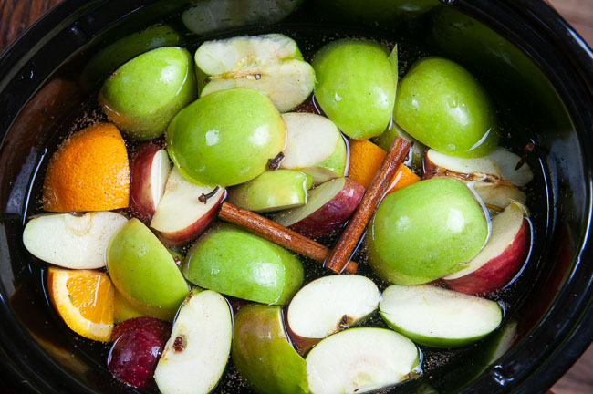 You can make homemade apple cider in the crock pot.