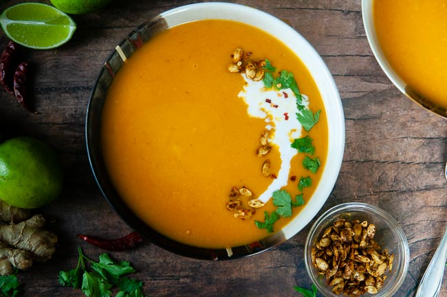 Make Instant Pot Curried butternut squash soup quickly and easily- yummy vegan dinner!