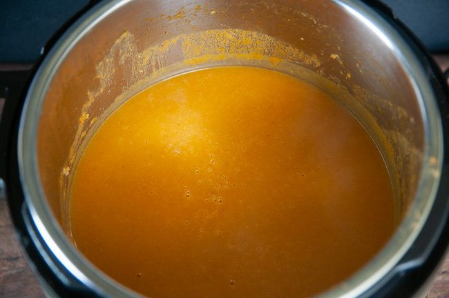 Blend the Instant Pot Curried Butternut Squash Soup with an immersion blender right in the pressure cooker.