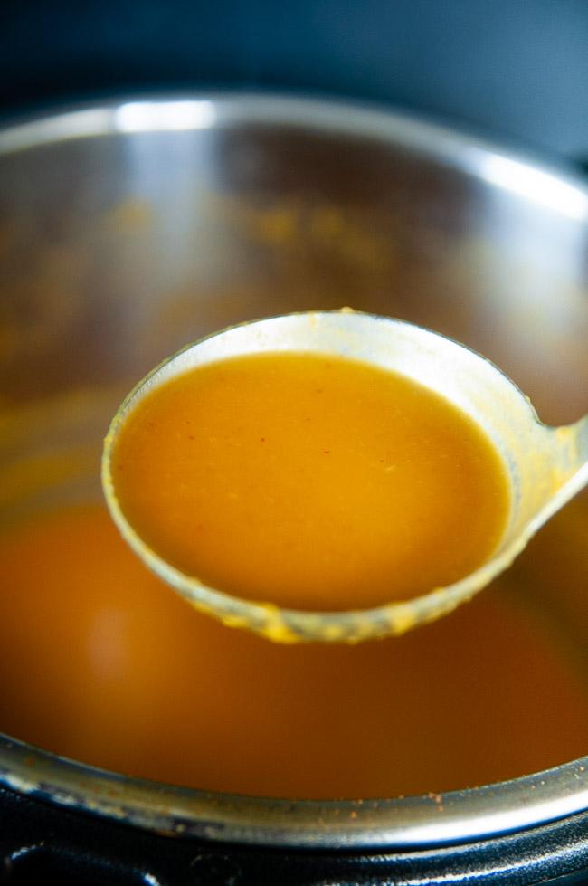 Serve the creamy Thai curry coconut milk butternut squash soup