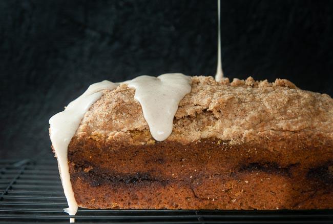 Drizzle the glaze over the bread.