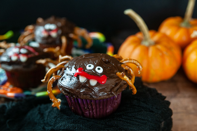 A chocolate cupcake decorated like a spider with pretzel legs and candy eyes for Halloween on black