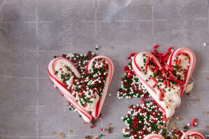 Sprinkle covered candy cane hearts