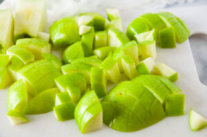 Diced green apples with the peel still on