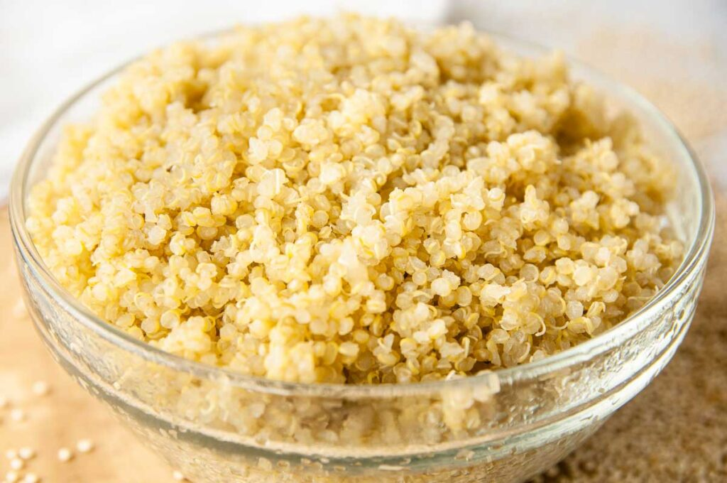 Fluffy cooked quinoa in a bowl
