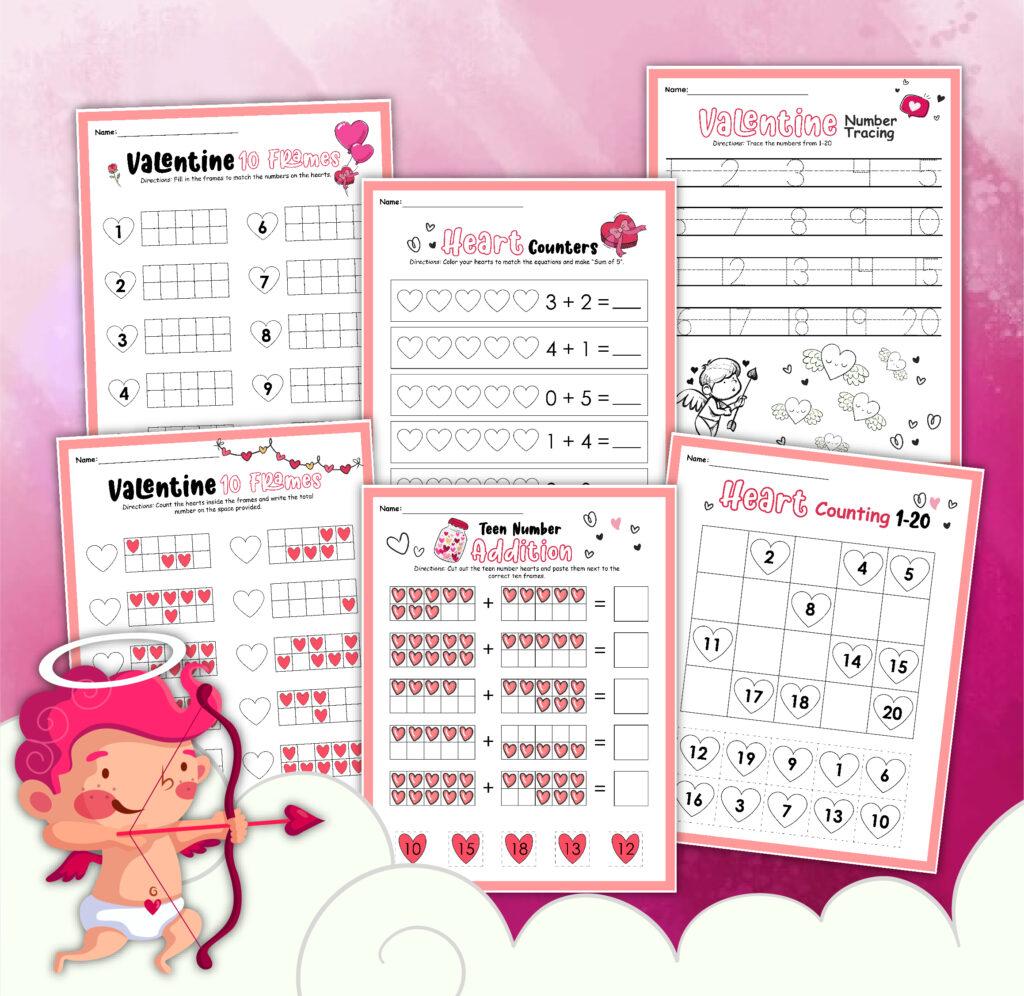 6 Valentine's Day math printabless for kindergarten on a pink background
