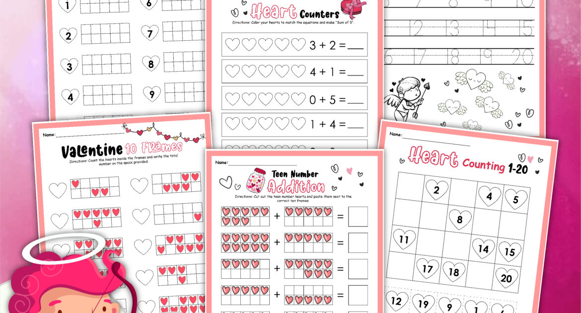 6 Valentine's Day math worksheets perfect for kindergarten on a pink background