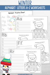 Winter Alphabet Printable Pack for Kindergarten and Preschool showing a selection of pages all with snowmen