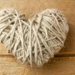 DIY Twine heart on wood