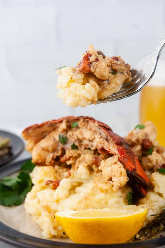 Forkful of lobster risotto perfect for Valentines Day
