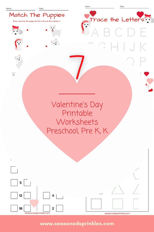 Valentine's Day puppy printables for kindergarten