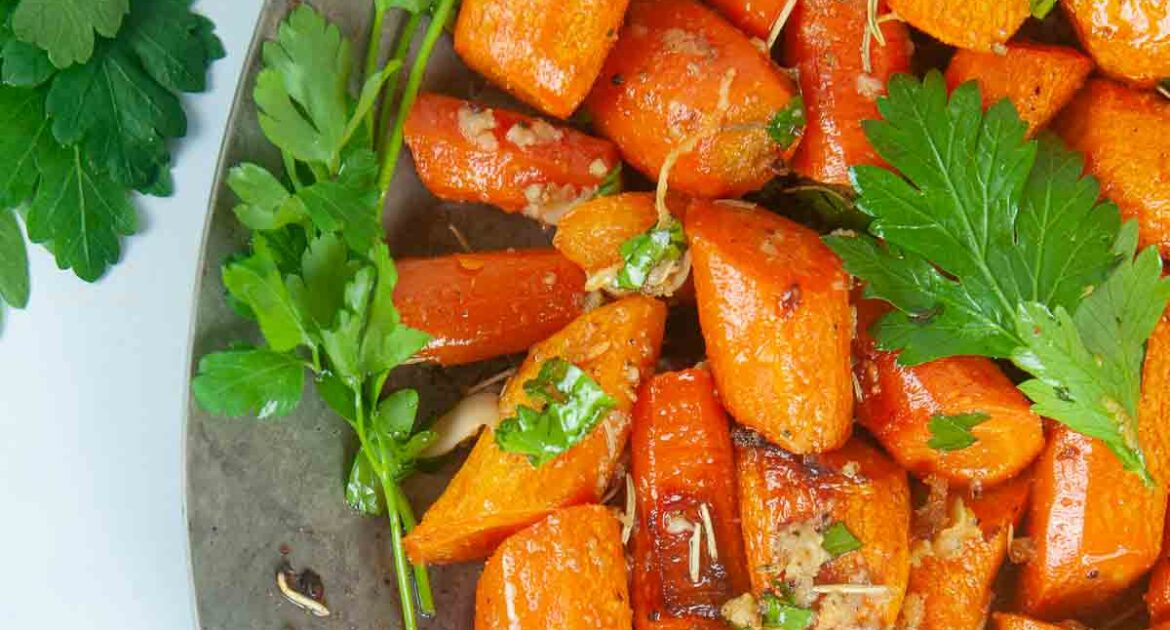 Garlic and Herb Roasted Carrots are an easy side dish.