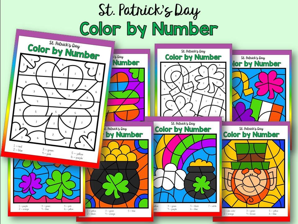 St. Patrick's Day Color by Number Printables for Kindergarten, Preschool and Homeschool
