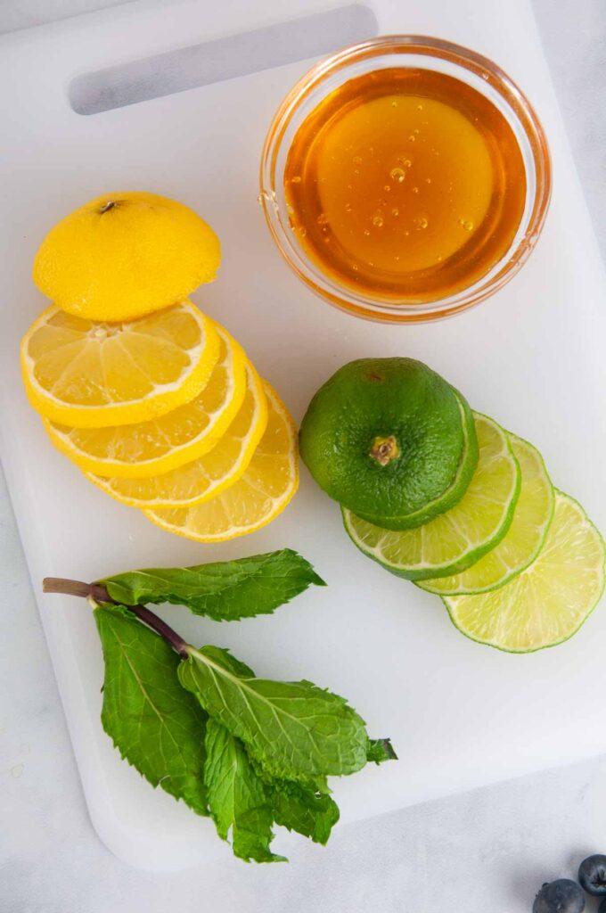 Ingredients for the Honey Citrus Dressing: Lemon Juice, Lime Juice and Honey