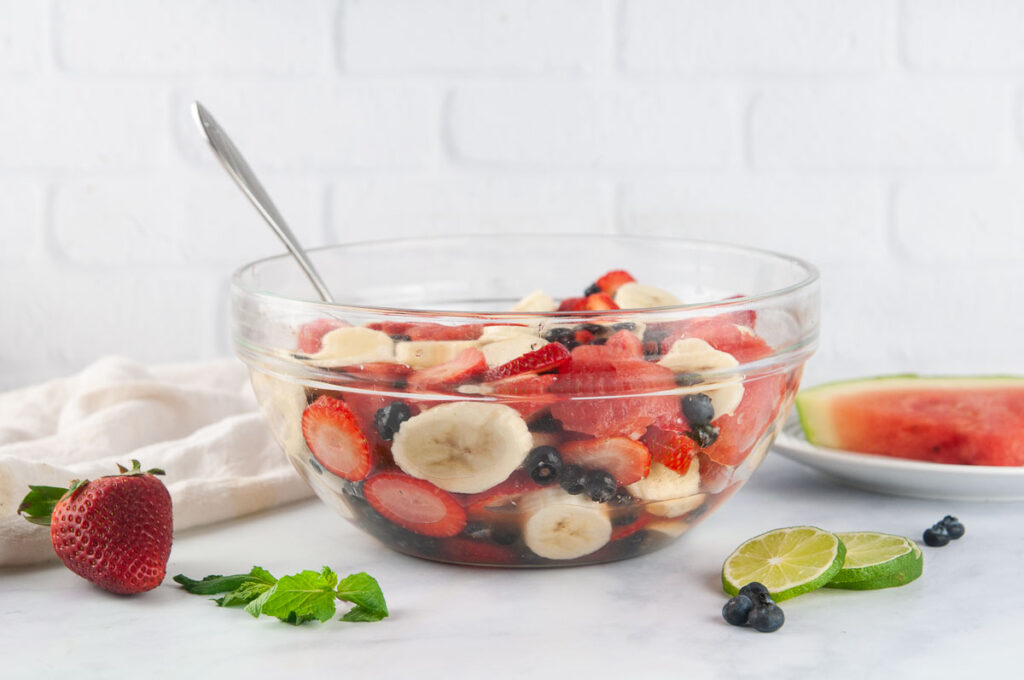 Red White and Blue Fruit Salad makes a refreshing summer side dish