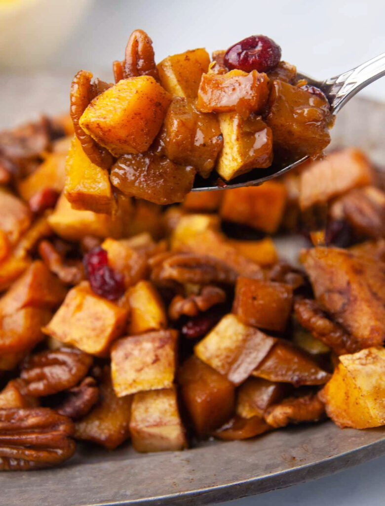 Brown sugar butternut squash with cinnamon is a delicious fall or holiday side dish.